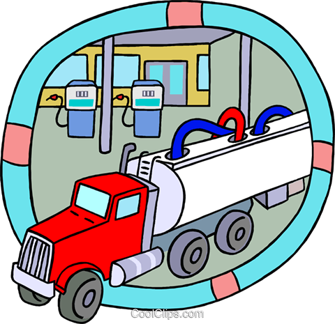 petroleum truck unloading gasoline Royalty Free Vector Clip Art illustration indu1205