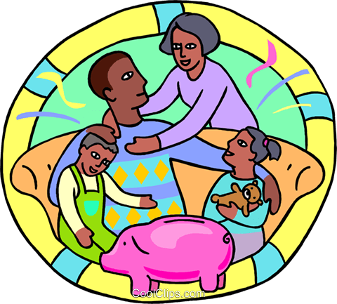 family sitting on a sofa with a piggy ban Royalty Free Vector Clip Art illustration peop4280