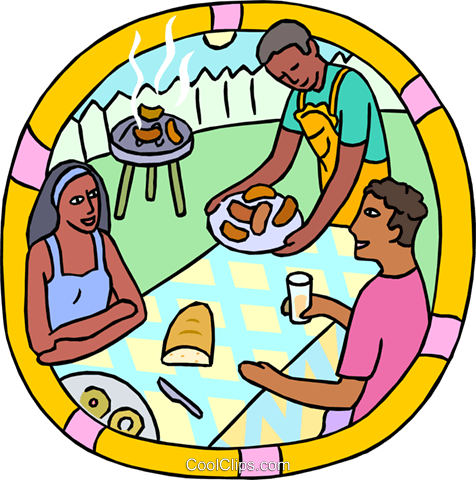 Summer outdoor barbeque with neighbors Royalty Free Vector Clip Art illustration spor0559