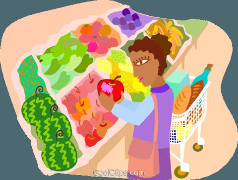 买菜 免版税矢量剪贴画插图