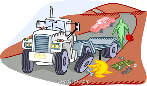 breakdown of a transport truck Royalty Free Vector Clip Art illustration vc000066