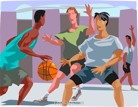 Basketball players having a game Royalty Free Vector Clip Art illustration vc000071
