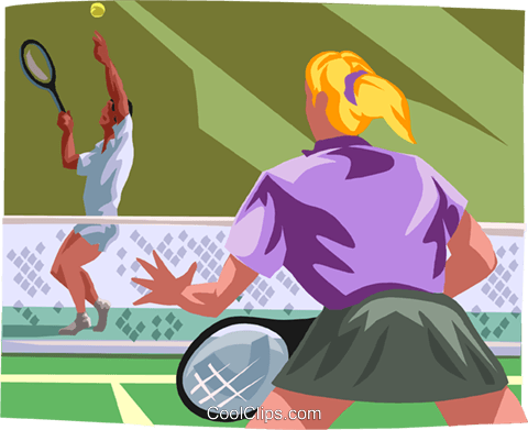 Tennis players in a games Royalty Free Vector Clip Art illustration vc000076