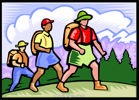 Backpackers hiking Royalty Free Vector Clip Art illustration vc000082