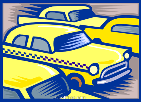 Taxicabs Royalty Free Vector Clip Art illustration vc000084