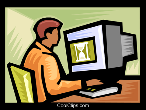 man working at computer Royalty Free Vector Clip Art illustration vc000085