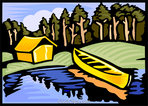 Camping site with tent and canoe Royalty Free Vector Clip Art illustration vc000089