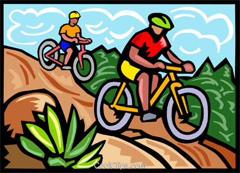 Mountain bikers Royalty Free Vector Clip Art illustration vc000097