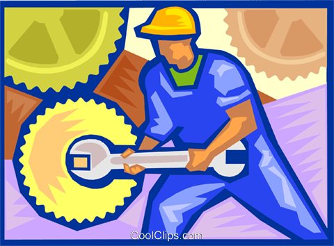 Industry, tightening bolts and gears Royalty Free Vector Clip Art illustration vc000108