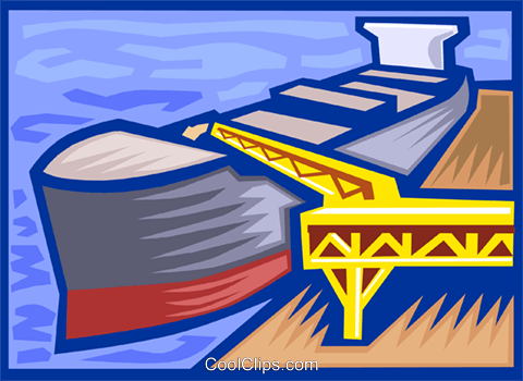 loading a ship Royalty Free Vector Clip Art illustration vc000111