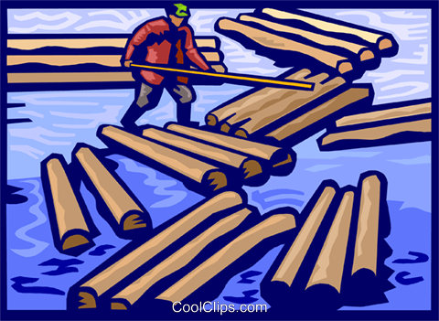 Forestry industry, clearing a log jam Royalty Free Vector Clip Art illustration vc000121