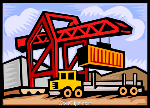 loading containers onto a transport truck Royalty Free Vector Clip Art illustration vc000125