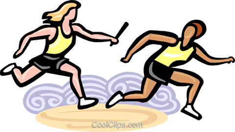 Relay racers passing the baton Royalty Free Vector Clip Art illustration vc000135