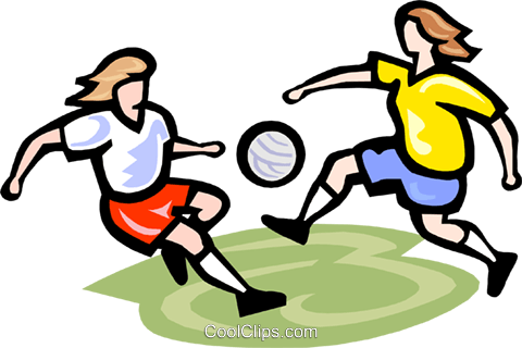 Soccer players with ball Royalty Free Vector Clip Art illustration vc000141