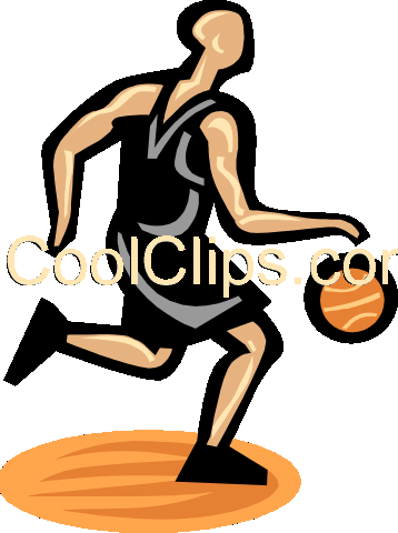 Basketball player dribbling ball Royalty Free Vector Clip Art illustration vc000144
