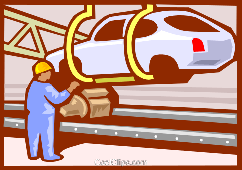 Automobile assembly line Royalty Free Vector Clip Art illustration vc000145
