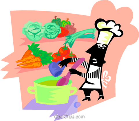 chef with fresh ingredients for a soup Royalty Free Vector Clip Art illustration vc000148
