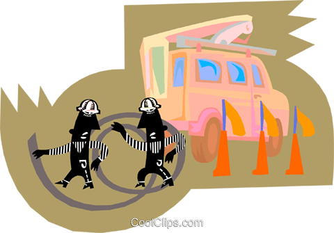 hydro workers with cable Royalty Free Vector Clip Art illustration vc000155