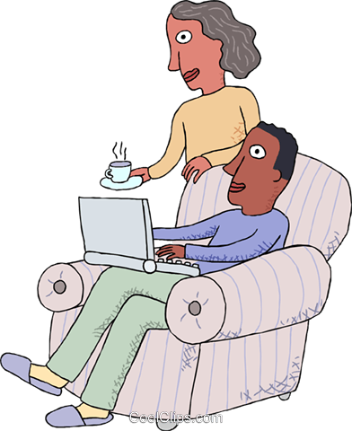 working at home with a notebook computer Royalty Free Vector Clip Art illustration vc000162