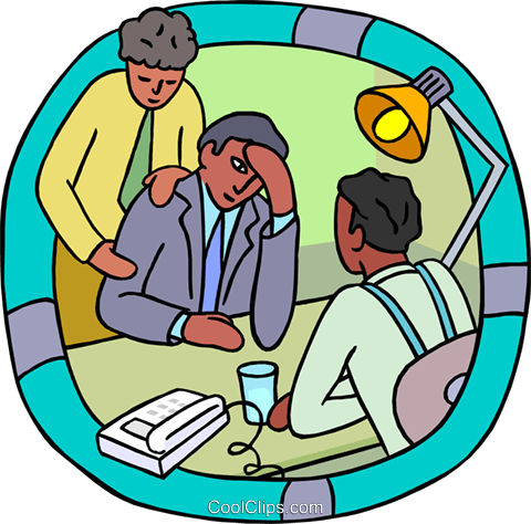 office workers consoling a co-worker Royalty Free Vector Clip Art illustration vc000183