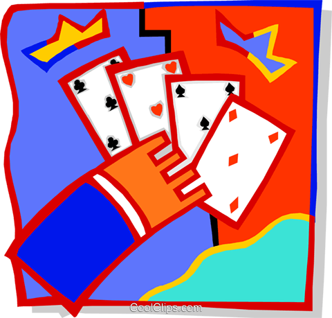 hand with playing cards Royalty Free Vector Clip Art illustration vc000211