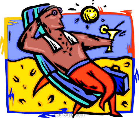 relaxing on a beach Royalty Free Vector Clip Art illustration vc000219
