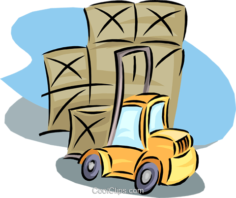 forklift with shipping crates Royalty Free Vector Clip Art illustration vc000251
