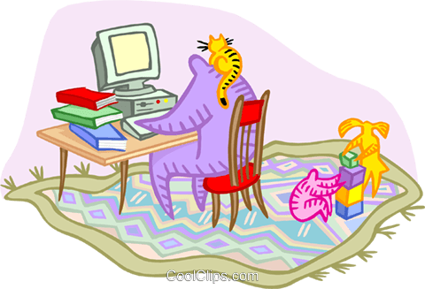 working at home with children playing Royalty Free Vector Clip Art illustration vc000296