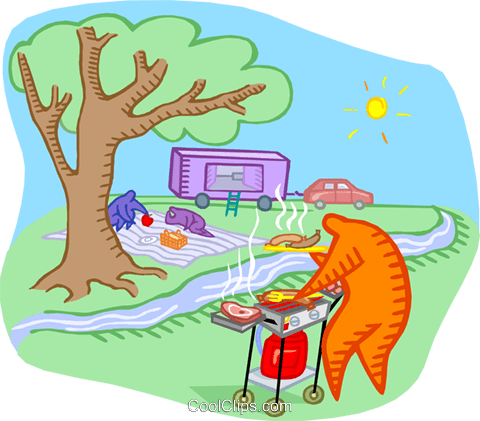 summer picnic Royalty Free Vector Clip Art illustration vc000299