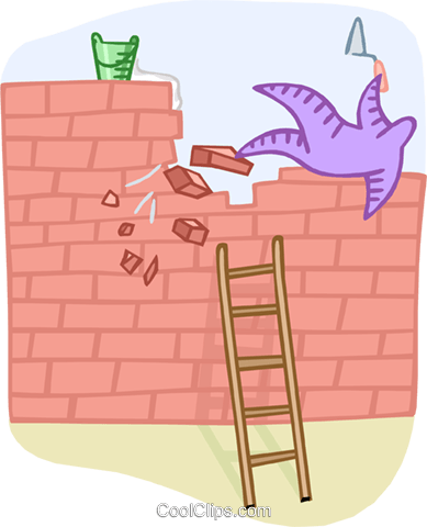 overcoming an obstacle Royalty Free Vector Clip Art illustration vc000305
