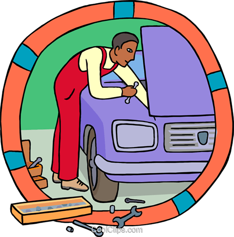 Industry, auto mechanic working on a car Royalty Free Vector Clip Art illustration vc000345