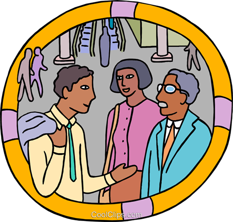 office workers chatting Royalty Free Vector Clip Art illustration vc000350