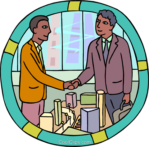 confirming a deal with a handshake Royalty Free Vector Clip Art illustration vc000355
