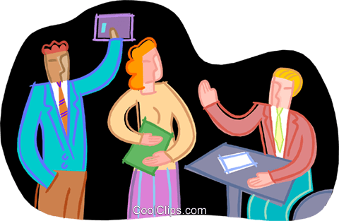 office workers celebrating Royalty Free Vector Clip Art illustration vc000361