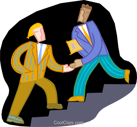 men passing on a stairway Royalty Free Vector Clip Art illustration vc000362
