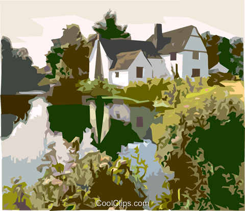 landscape with house and river Royalty Free Vector Clip Art illustration vc000365