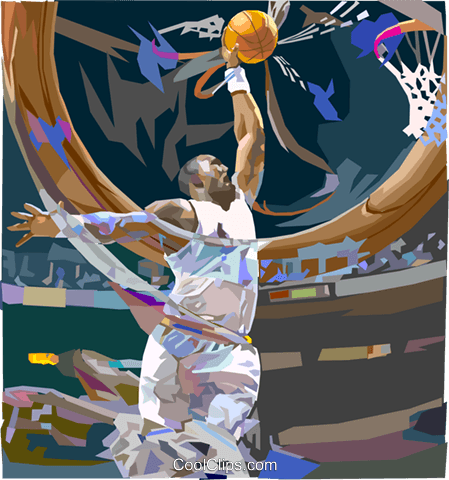 Basketball player going for slam dunk Royalty Free Vector