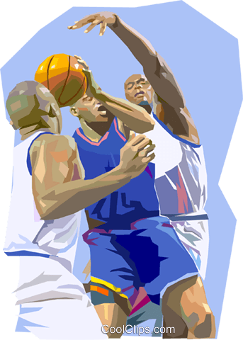 Basketball players fighting for ball Royalty Free Vector Clip Art illustration vc000370