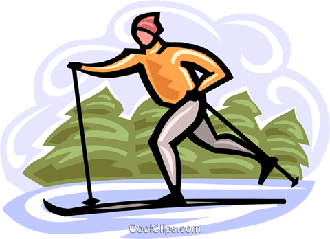 cross country skiing Royalty Free Vector Clip Art illustration vc000382