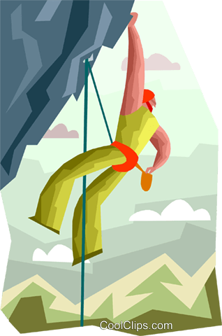 rope climbing in the mountains Royalty Free Vector Clip Art illustration vc000417