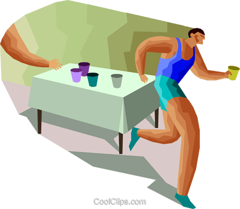 marathon racer taking a refreshing drink Royalty Free Vector Clip Art illustration vc000419