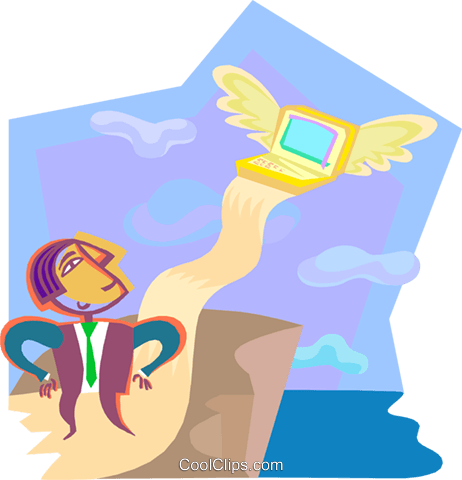 technology takes flight Royalty Free Vector Clip Art illustration vc000431