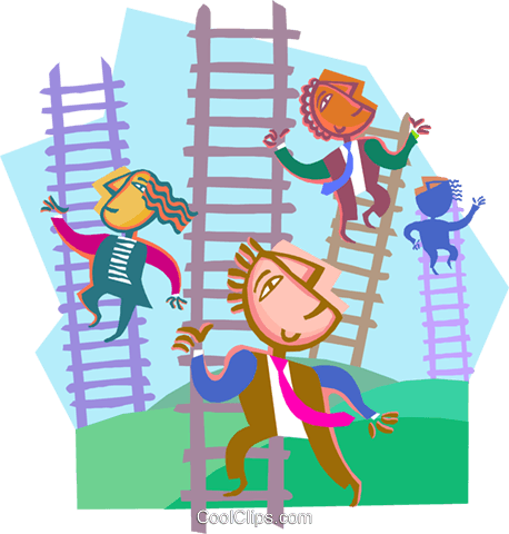 business metaphors, climbing ladders Royalty Free Vector Clip Art illustration vc000439