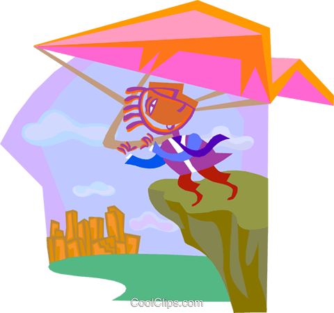 business metaphors, hang gliding Royalty Free Vector Clip Art illustration vc000440