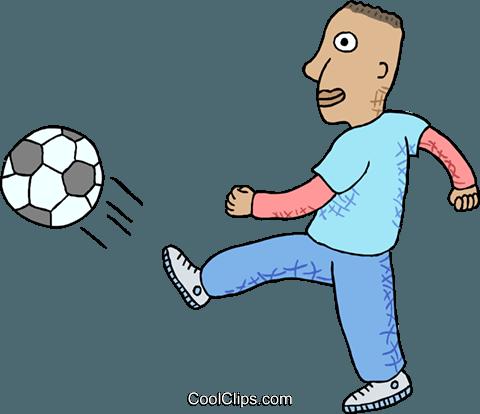 Fussballer Treten Ball Vektor Clipart Bild Vc000444
