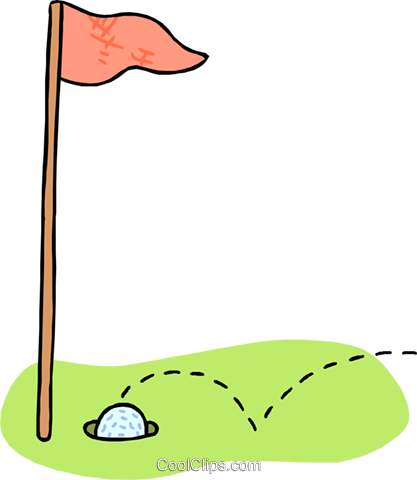 Golf ball and club clipart