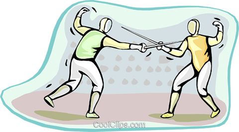 fencing Royalty Free Vector Clip Art illustration vc000468