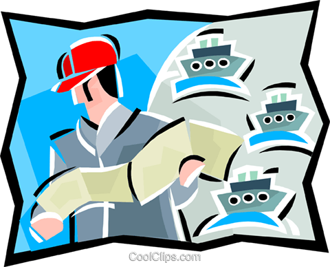 man studying shipping documents Royalty Free Vector Clip Art illustration vc000544