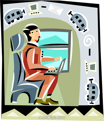 man working on a computer Royalty Free Vector Clip Art illustration vc000551