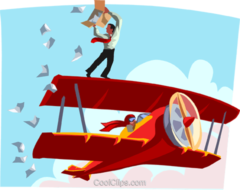 man throwing leaflets from an airplane Royalty Free Vector Clip Art illustration vc000585